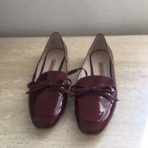 Zara red loafers with silver metallic details sz 8
